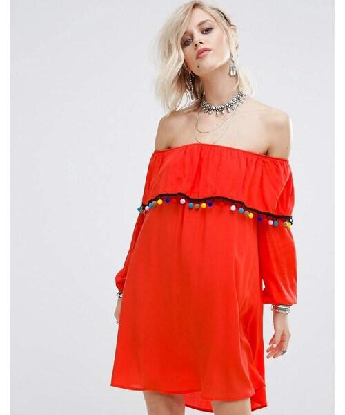 glamorous グラマラス の glamorous off shoulder dress with pom pom
