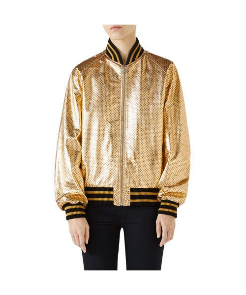 brand new d27d7 e5d84 Gucci(グッチ)の「Gucci Guccy-Print SEGA® Leather Bomber ...
