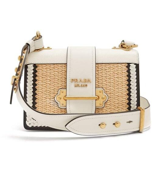 4d836067c8e0 Prada,PRADA Small raffia leather bag - WEAR
