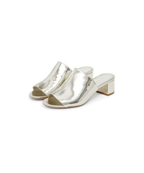 2a3394a76233b 「Mansur Gavriel Metallic Leather 40mm Block-Heel Mule Sandal」