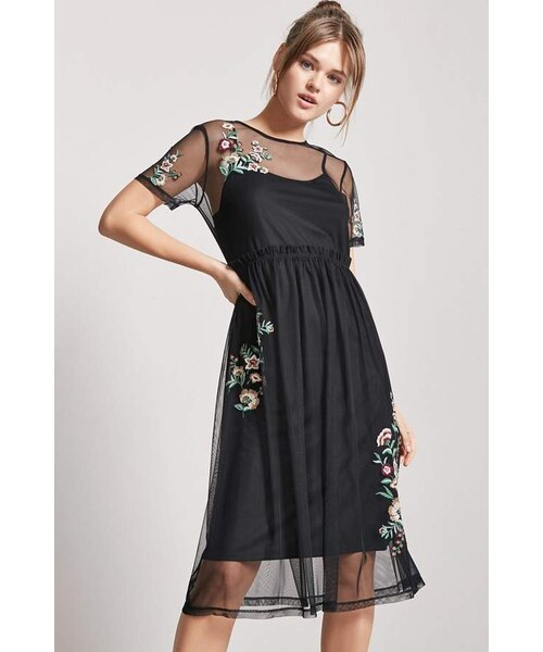 e6b2d7583 Forever 21,Forever 21 Embroidered Sheer Mesh Dress - WEAR