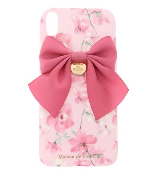e847167c6627 Maison de FLEUR(メゾンドフルール)の「《EC限定》iPhoneX ピンク水彩フラワーケース【先行予約:4月中旬お届け予定】(財布/小物)」  - WEAR