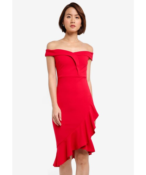 55933a26b02731 Lipsy,Red Ruffle Bardot Bodycon Dress - WEAR