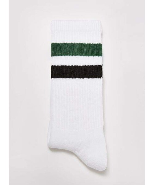 09e23e281 Topman,White with Dark Green Striped Tube Socks - WEAR