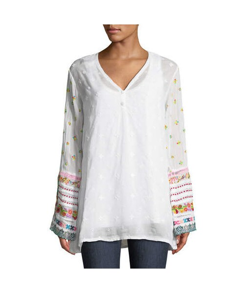 Johnny Wasjohnny Was Embroidered Trim Long Sleeve Tunic Plus Size