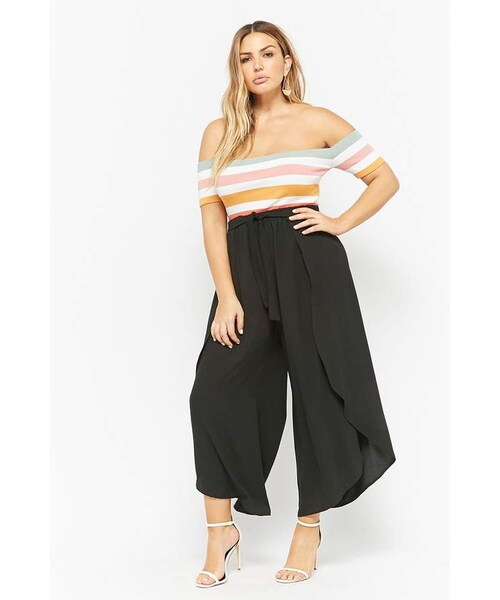 bf6860b96 Forever 21,Forever 21 Plus Size Tie-Front Flare Ankle Pants - WEAR