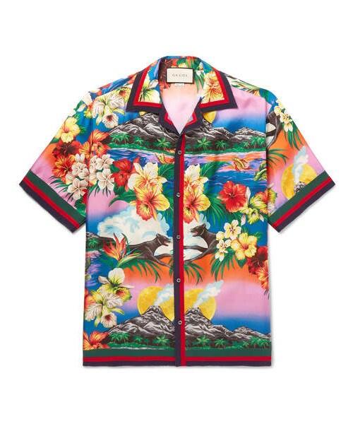 c6a9c0102 Gucci,Gucci Camp-Collar Grosgrain-Trimmed Floral-Print Silk Satin-Twill  Shirt