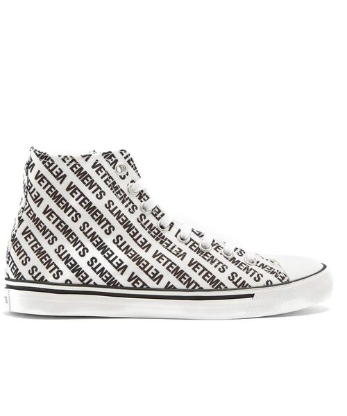 Logo-print high-top canvas trainers VETEMENTS Cheap Price Outlet F9fq5