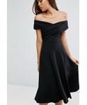 """asos One piece dress """"エイソス ASOS オフショルダー スケーター ワンピース ドレス オフショル 黒"""""""