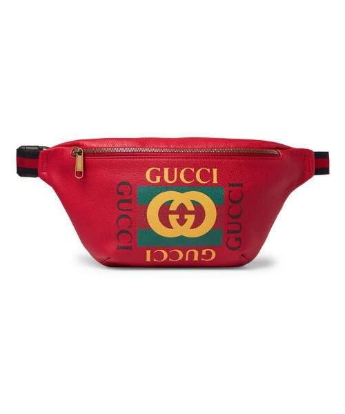 55492b10ecc Gucci,Gucci Webbing-Trimmed Printed Full-Grain Leather Belt Bag - WEAR