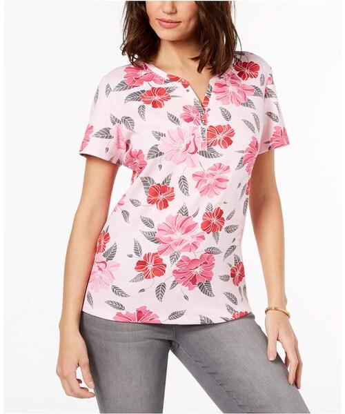 b0da31cd Karen Scott,Karen Scott Printed Henley T-Shirt, Created for Macy's - WEAR