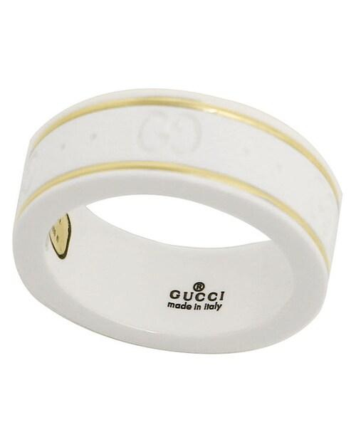6524d6c70f11 「グッチ GUCCI リング 指輪 セラミック ホワイト Gマーク アクセサリー GGリング レディース メンズ ベアルック 白