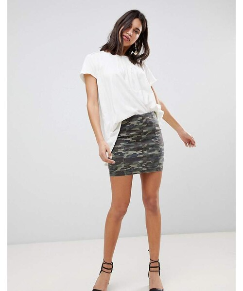 7a9b1f815557b Free People,Free People Modern Femme camo print denim mini skirt - WEAR