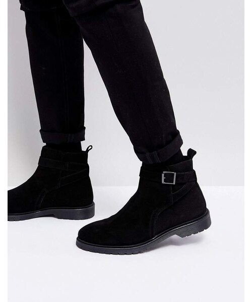 asos エイソス の asos chelsea boots in black leather with strap