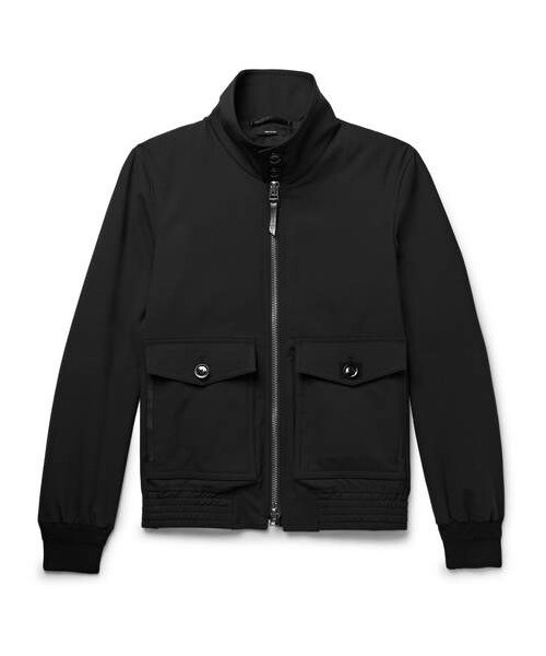 Ford Black Blouson Stretch Jacket wool Leather Tom trimmed w0UxqZf