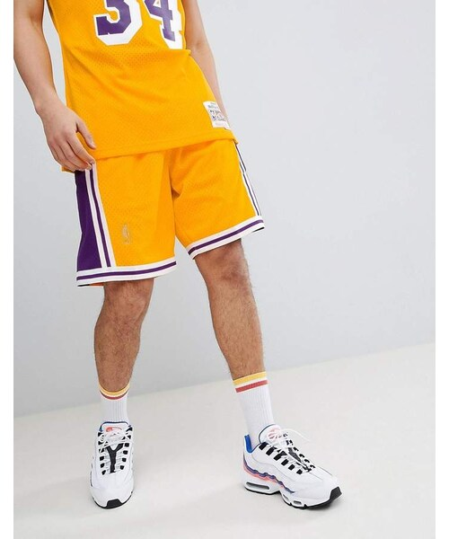 detailing ae1b0 25417 Mitchell   Ness,Mitchell   Ness NBA Lakers Swingman Shorts In Yellow