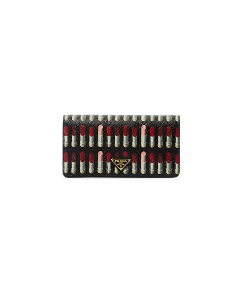 68d0277eeff2 Prada,Prada Lipstick-Print Saffiano Crossbody Wallet/Tech Case Bag ...