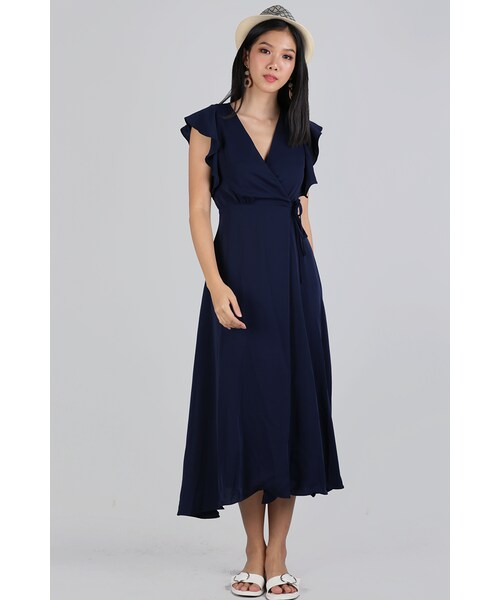 80035cd096 The Tinsel Rack,Judith Wrap Front Maxi Dress (Navy) - WEAR