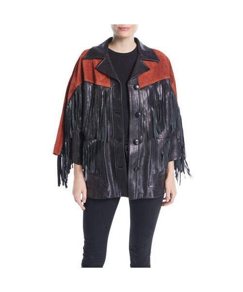 baee48f0d061 Gucci,Gucci Grainy Leather Jacket with Suede Fringe & Studded Guccy on Back  - WEAR
