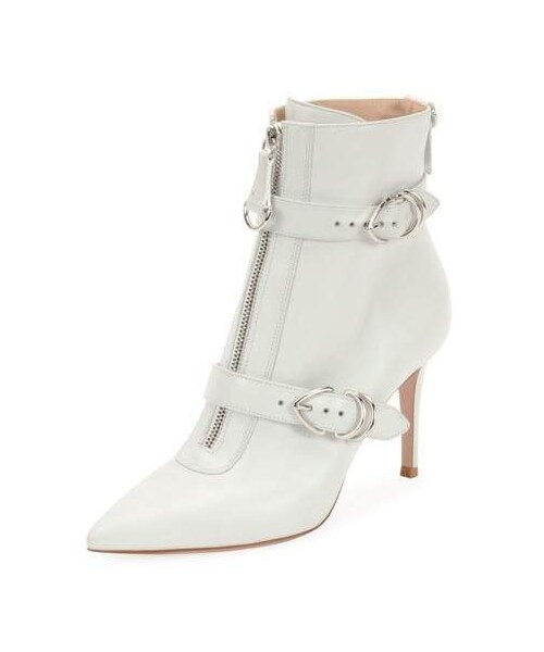 08915eae92526 Gianvito Rossi,Gianvito Rossi Napa Buckled Zip-Front Ankle Bootie, White -  WEAR