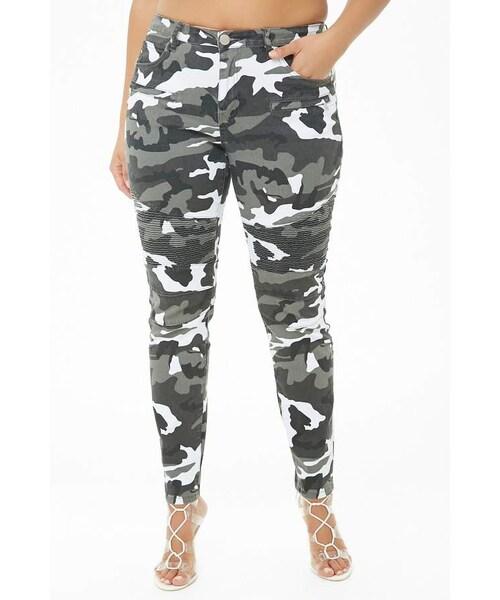 e752af81271d9b Forever 21,Forever 21 Plus Size Camo Print Super Skinny Jeans - WEAR