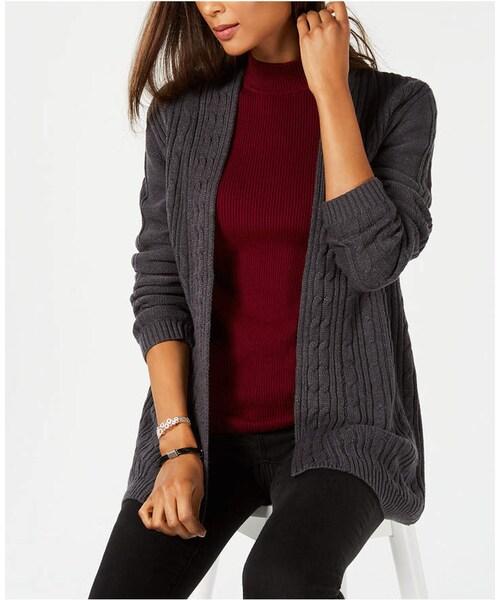 Karen Scottkaren Scott Cable Knit Open Front Cardigan Created For