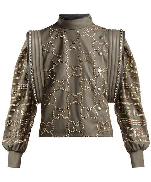 8fe3c1b3f5b9 Gucci,GUCCI Crystal-embellished leather jacket - WEAR