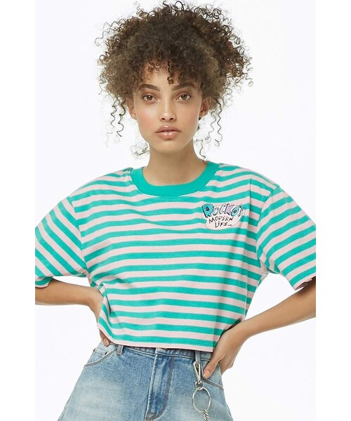 0ca6d05c6753 Forever 21,Forever 21 Rockos Modern Life Graphic Striped Top - WEAR