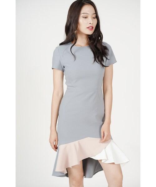 208ecd0d0051 MDS,Color-Block Mermaid Dress in Grey - Arriving Soon - WEAR