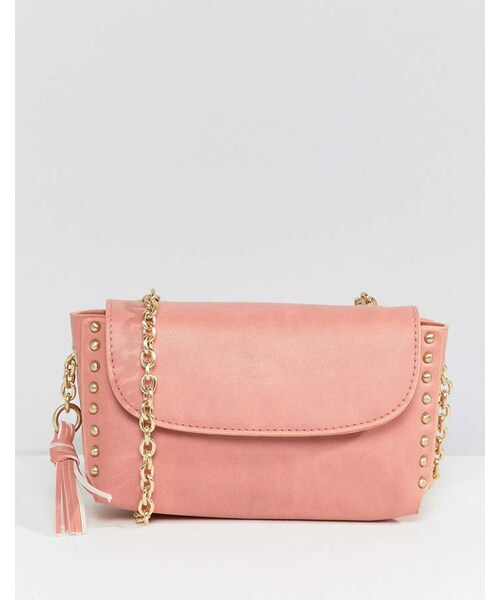 b79e8e2f2f59e Ichi(イチ)の「Ichi Pink Chain Cross Body Bag with Tassel Detail(ショルダーバッグ)」 -  WEAR