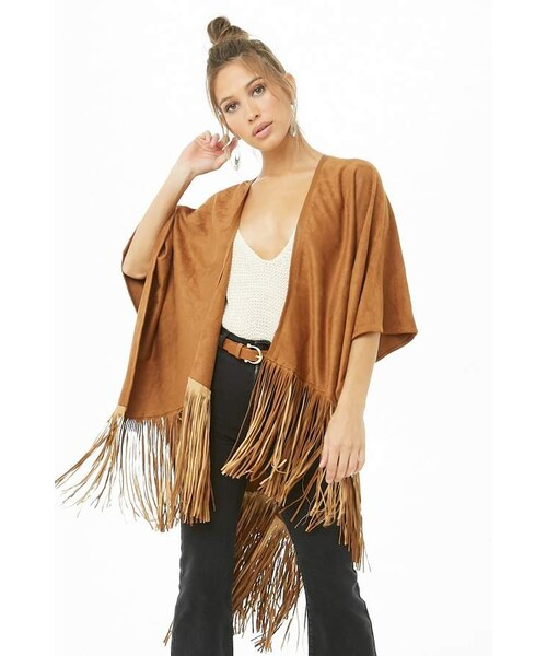 4b7a09762 Forever 21,Forever 21 Faux Suede Fringe Poncho - WEAR