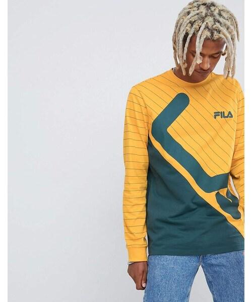 c6a6ec54b1f8 Fila,Fila Black Line Harrison Striped Panel Long Sleeve T-Shirt In Yellow -  WEAR