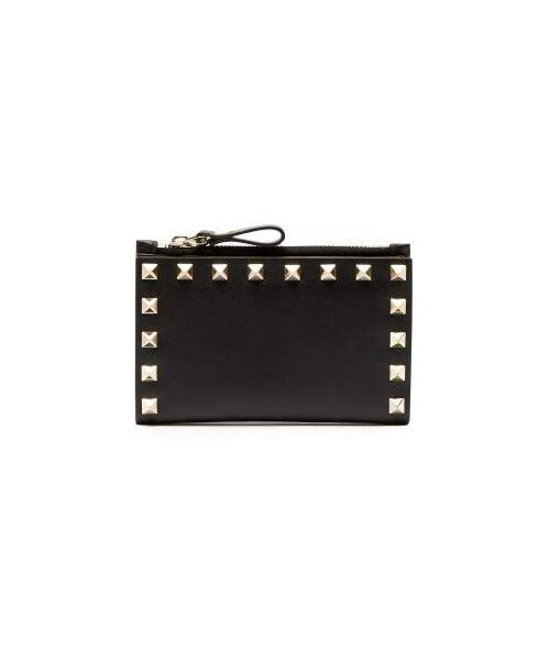 9c02539575 Valentino,Valentino - Rockstud Leather Cardholder And Coin Purse - Womens -  Black