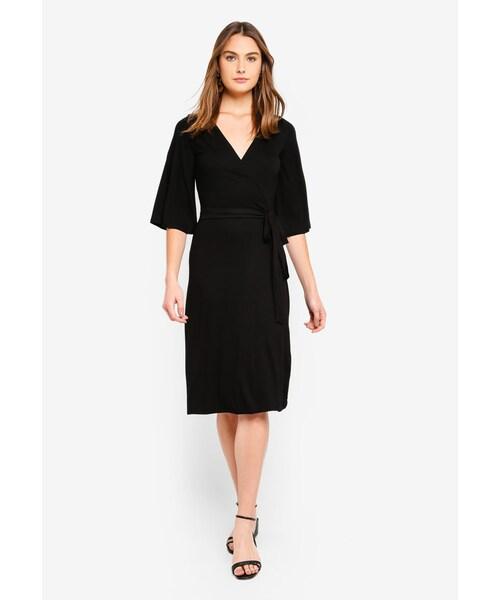 af9bfe2d8f84 Dorothy Perkins,Plain Black Midi Wrap Dress - WEAR