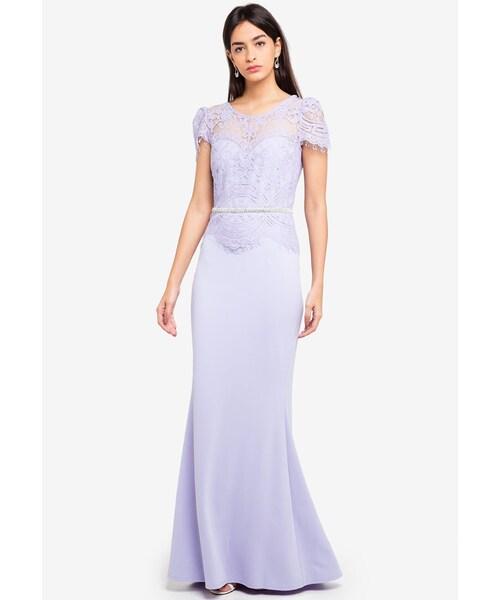 434c08890 Goddiva(-)の「Lace Bodice Maxi Dress With Cap Sleeves(その他 ...