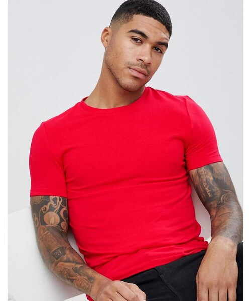 a99700fc Asos(エイソス)の「ASOS DESIGN organic muscle fit t-shirt with crew ...