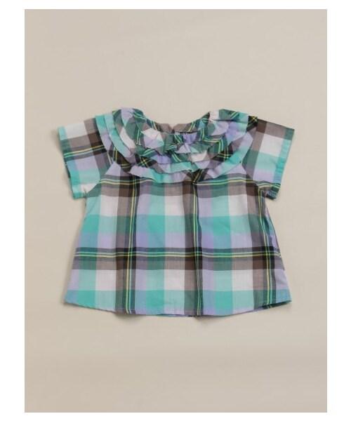 55e9dd19e6acd hakka baby (ハッカベビー)(ハッカベビー)の「 ベビー ローンチェック衿ぐりフリルチュニック(トップス)」 - WEAR