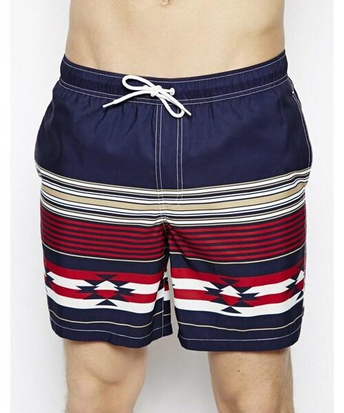 e8fc1aebc8939 Asos(エイソス)の「ASOS Swim Shorts In Mid Length With Aztec Print ...