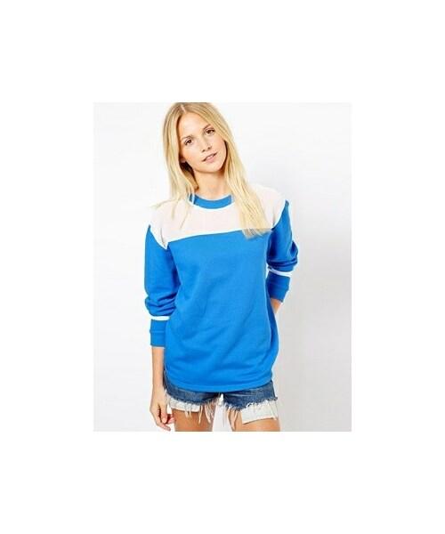 asos エイソス の asos sweatshirt with sheer panels blue 21 28