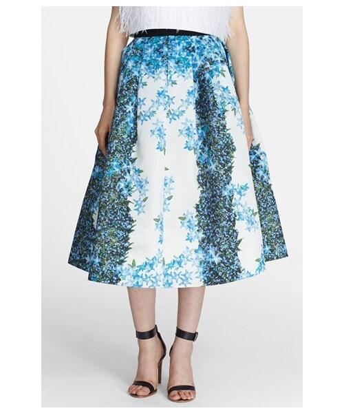 137e25f826 Tibi,Tibi 'Sidewalk' Floral Print Silk Crêpe de Chine Full Midi Skirt - WEAR