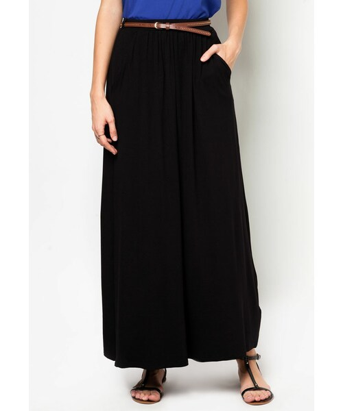 4db131592a6 New Look(ニュールック)の「Petite Black Jersey Belted Maxi Skirt(その他)」 - WEAR