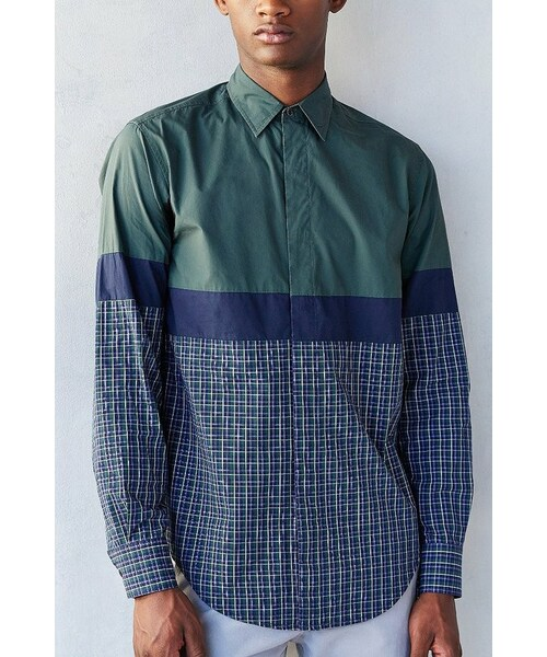 d004eae1affb8 「Shades Of Grey By Micah Cohen Colorblock Plaid Long-Sleeve Button-Down  Shirt