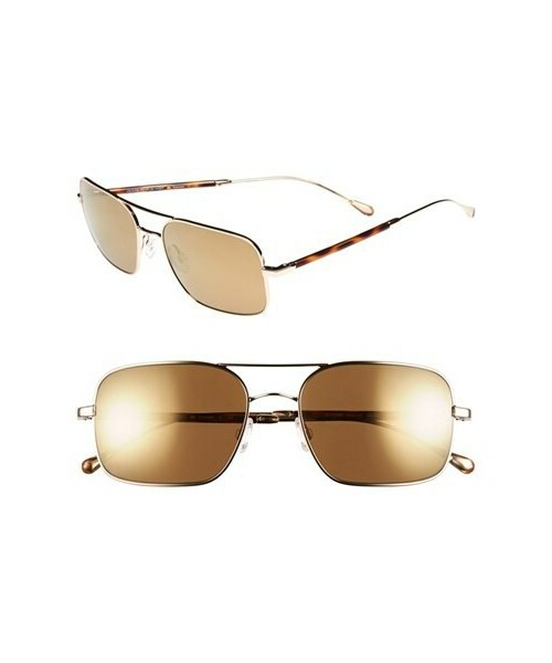 ced9be8047 「Oliver Peoples West Sunglasses  De Oro  56mm Polarized Metal Aviator  Sunglasses」