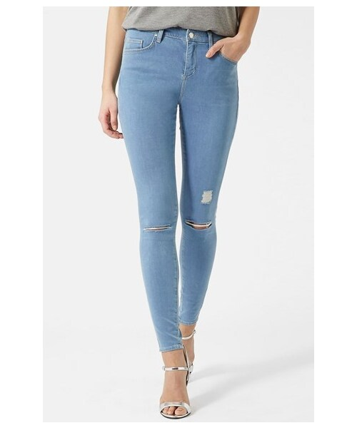 272d3776211 Topshop,Topshop Moto 'Leigh' Ripped Skinny Jeans (Blue) - WEAR