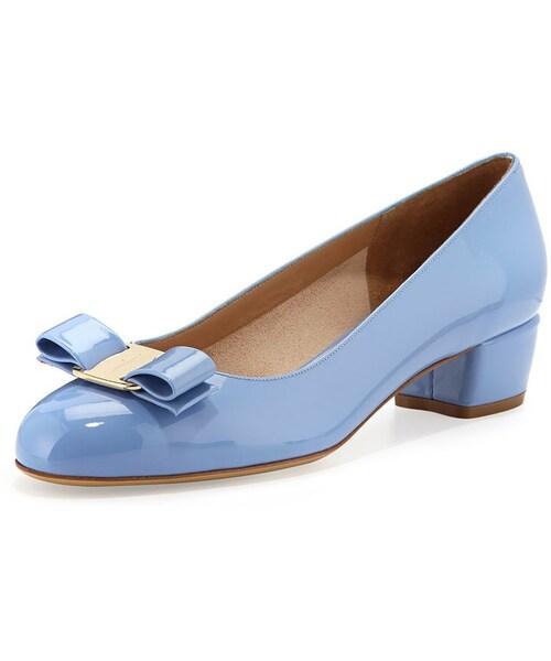 Clothing, Shoes & Accessories Flats Salvatore Ferragamo Blue Patent Leather Bow Vara Flats 6 B