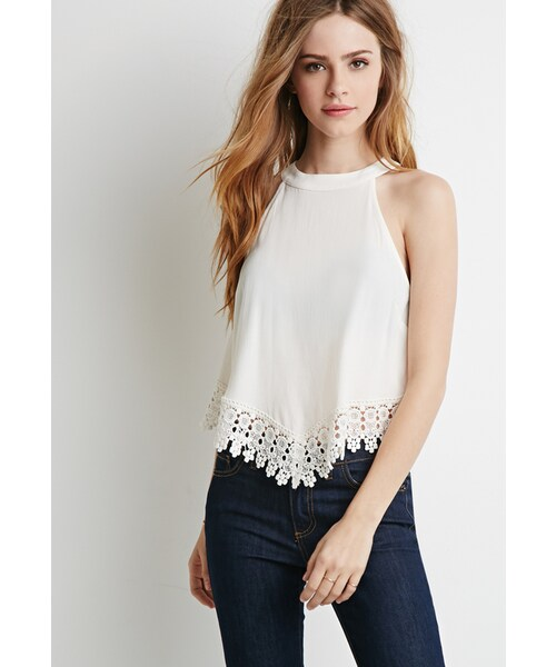 Forever 21forever 21 Crochet Trimmed Crepe Top Wear