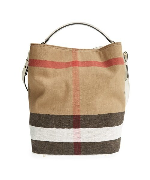 f6e9297b6 Burberry,Burberry Brit 'Medium Susanna' Canvas Check Bucket Bag. 1 Looks