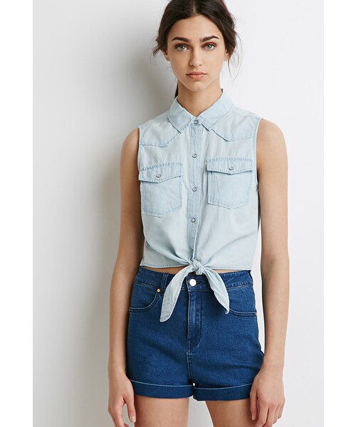 09094676c46756 Forever 21,FOREVER 21 Knotted Denim Shirt - WEAR