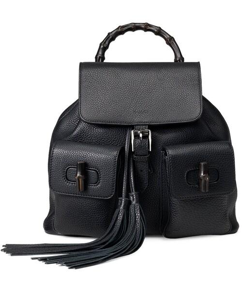 51b53a9886b0 Gucci,Gucci Bamboo Sac Leather Backpack, Black - WEAR