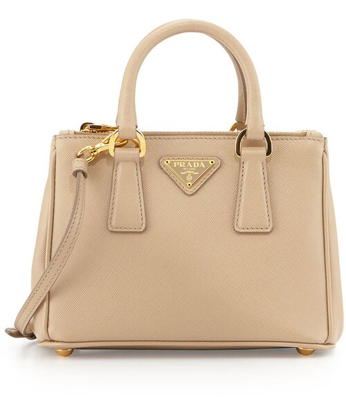 5191628b6f6a6c Prada,Prada Saffiano Mini Galleria Crossbody Bag, Beige (Sabbia) - WEAR